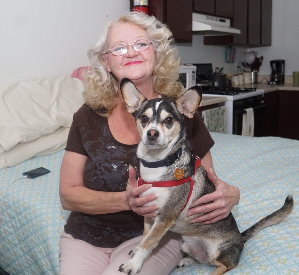 Irene Rudeseal with dog, Nike